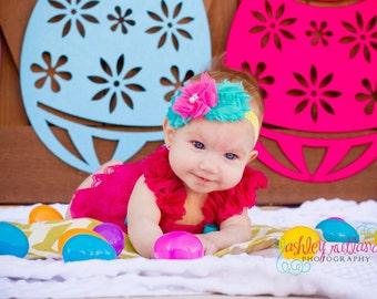 Baby headband or planner band { Chloe } Chevron hot pink, yellow, aqua Flower Elastic baby girl headband photography prop