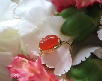 Carnelian Scarab Ring, Handcarved Natural Gemstone in 18k Yellow Gold Setting, Ready to Ship
