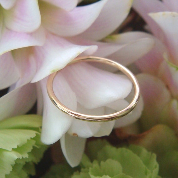 Handforged 18K Yellow or Rose Gold Wedding Band - Made to Order
