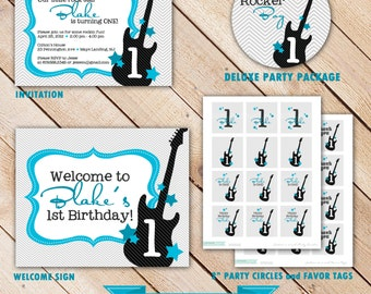 Rocker Boy COLLECTION Deluxe Party Package...Personalized Invitation and Party Printables...by KM Thomas Designs