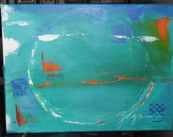 Abstract Painting with Blue and Orange