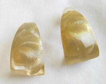 Vintage Gold Tone Etched Hoop Earrings