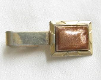 Fancy Vintage Goldstone Tie Clip Signed Hayward