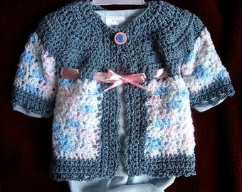Crochet PATTERN,  girls cardigan sweater jacket, newborn to age 8, Shelby, digital download number 493, free patterns see below