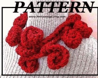Crochet Pattern, scarf pattern, lariat cowl,  number 67... LARIAT OF ROSES.  sell your finished garment, instant digital download