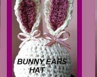 CROCHET PATTERN - Bunny Ears Hat -  num. 240 newborn to 3 years, permission to sell your hats, instant download