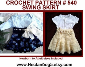 CROCHET PATTERN, clothing, Swing Skirt - num 540 all sizes from Newborn to adult, ok to sell them, craft supplies, diy handmade patterns