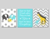 Modern Nursery Trio - Set of Three 8x10 Prints - First We Had Each Other - Polka Dot Elephants - Chevron Giraffe Family - Choose Your Colors