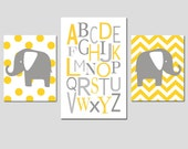 Modern Elephant Alphabet Trio - Set of Three Chevron Polka Dot Prints - 11x14 and 13x19 - CHOOSE YOUR COLORS - Shown in Gray and Yellow