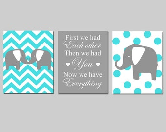 Modern Chevron Elephant Polka Dot Nursery Art Trio - Set of Three 8x10 Nursery Prints - First We Had Each Other Quote - CHOOSE YOUR COLORS