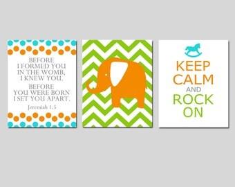 Jeremiah Bible Verse Nursery Art - Set of Three 8x10 Prints - Chevron Elephant, Keep Calm Rock On, Before I Formed You - CHOOSE YOUR COLORS