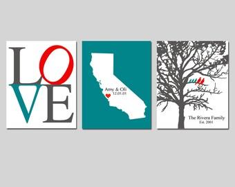 Newlywed Wedding Gift Trio - Set of Three 8x10 Customizable Prints - Love, Family Established Bird Tree, Love State Map - GREAT WEDDING GIFT