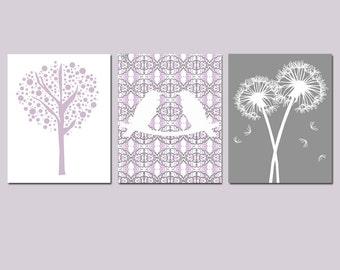 Lavender Nursery Wall Art Purple Gray Nursery Art Trio - Set of 3 Prints - Love Birds, Tree Dot, Dandelion Floral - CHOOSE YOUR COLORS