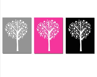Tree Dot Trio Nursery Art - Set of Three 11x14 Prints - CHOOSE YOUR COLORS - Shown in Hot PInk, Black, Gray, Light Pink, and More
