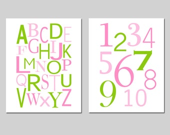Pink Green Nursery Art Alphabet and Numbers - Set of Two 8x10 Prints - CHOOSE YOUR COLORS
