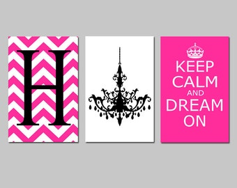 Keep Calm and Dream On, Chevron Initial, Chandelier Trio - Set of Three 13x19 Prints - Choose Your Letter and Colors
