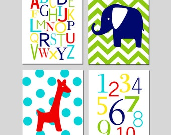 Modern Nursery Art Quad - Set of Four 8x10 Prints - Modern Alphabet, Numbers, Chevron Elephant, Polka Dot Giraffe - CHOOSE YOUR COLORS