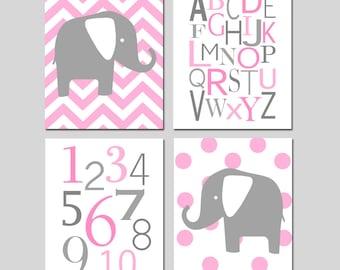Baby Girl Nursery Art Quad - Chevron Elephant, Modern Alphabet, Numbers, Polka Dot Elephant - Set of Four 8x10 Prints - CHOOSE YOUR COLORS