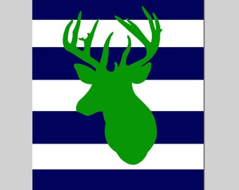 Striped Deer Head Silhouette - 8x10 Print - Kids Wall Art for Nursery - CHOOSE YOUR COLORS - Shown in Navy Blue, Green, and More