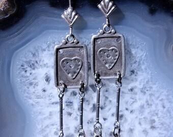 Heart Earrings, Silver Heart Charm Earrings, Silver Dangle Earrings, Artisan Earrings, OOAK Earrings, Long Earrings, Love Earrings, Hearts