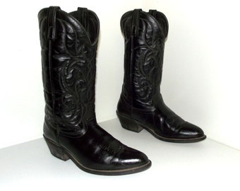 Black on black leather cowboy boots size 9 EW or cowgirl size 10.5 wide width