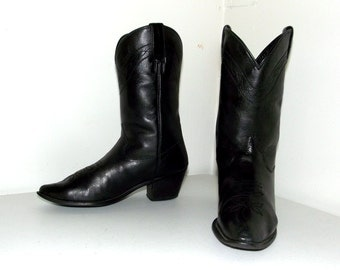 Black on Black Dingo Leather Western Cowboy Boots size 5 M