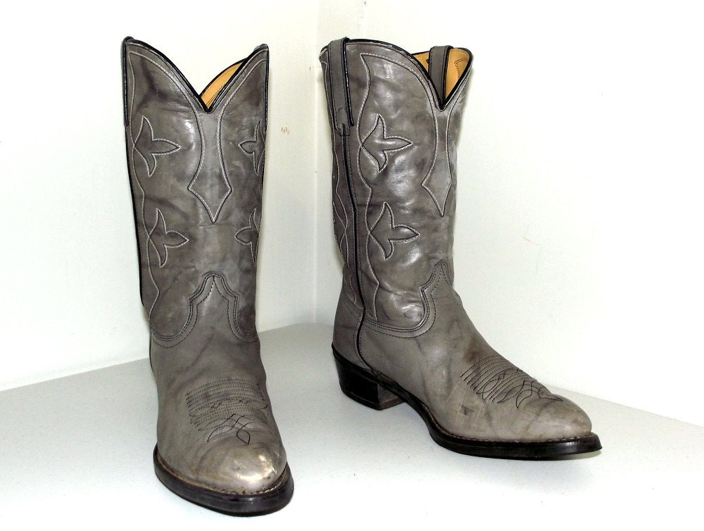 Vintage Grey Durango Cowboy Boots Size 10 5 D Or Cowgirl Size
