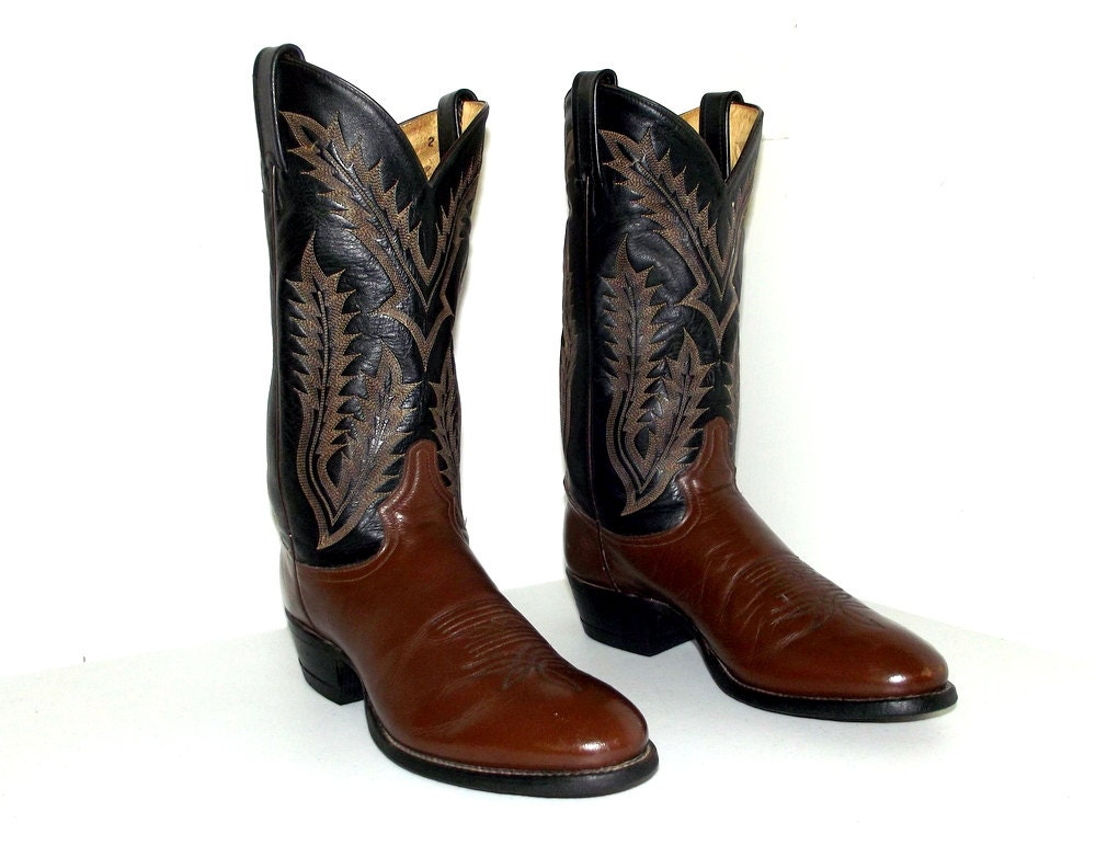 two tone brown and black leather tony lama cowboy boots 9