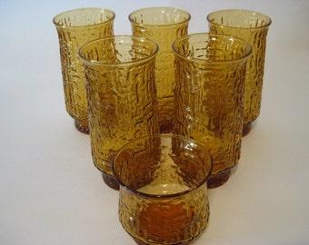 Vintage Amber Drinking Glassware SET