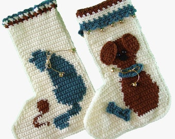 Cat and Mouse and Puppy Love Stockings Crochet Pattern PDF