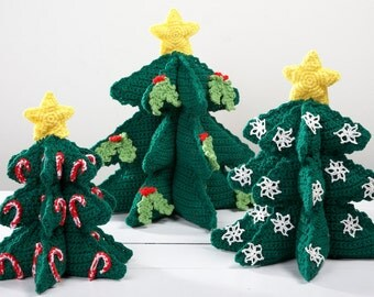 Soft Sculpture Christmas Trees Crochet Pattern PDF