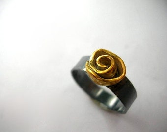 Wild Rose Gold Plated Oxidized Sterling Silver. Handmade Art Jewelry.