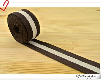 5 yards of pattern Poly webbing 1 inch Bag strap purse strap striped webbing Brown and White  ZD24