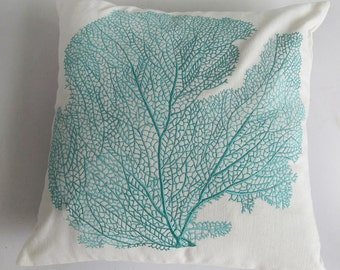 aqua blue coral pillow.  sea themed pillow coral fan cushion cover. decorative notified pillow. 16inch