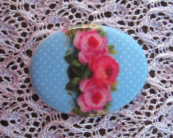 Shabby Roses Over Robins Egg Blue Polkadots....Fine Porcelain Cameo 40x30mm Make a Cherished Jewelry Heirloom....