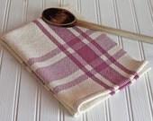 Handwoven tea towel / antique rose mauve  & ivory farmhouse plaid handmade by Nutfield Weaver.