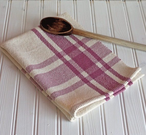 Handwoven Tea Towel / Antique Rose Mauve & Ivory Farmhouse