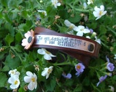 The Only Disability In Life Is A Bad Attitude Custom Hand Stamped Mixed Metals Leather Cuff by MyBella