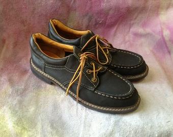 Vintage 90s 9 & Co Lug Oxford Lace Up Shoes Black Leather Size 9