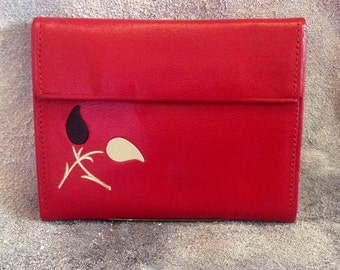 Vintage Coral Red 1960s Card Wallet Deadstock Unused with Original Papers Enclosed