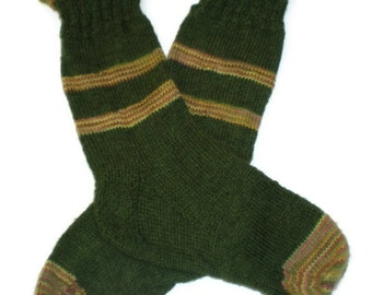 Socks - Hand Knit Grassy Green Rolled Cuff Socks with Accent Stripes - Size 6.5 - 8.5