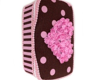 Baby Wipes Case Pink and brown polka dots