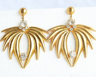 Big Gold Spikes Earrings Vintage Rhinestone Accents Fireworks Dangles Shoulder Brushers