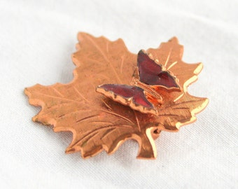 Vintage Butterfly Copper Leaf Brooch Vintage Red Poured Glass Butterfly Maple Leaf Pin