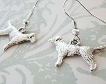 Dog Earrings, Tibetan Silver Earrings, Retriever Dog Earrings