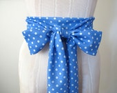 Obi Sash Belt Periwinkle and White Polka Dots by ccdoodle - ready to ship