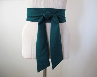 Emerald Green Obi Belt in Raw Silk Fabric by ccdoodle on etsy - made to order