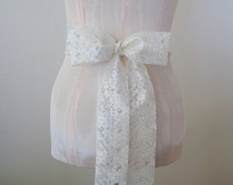 Ivory Lace Sash Wedding Sash by ccdoodle on etsy - made to order