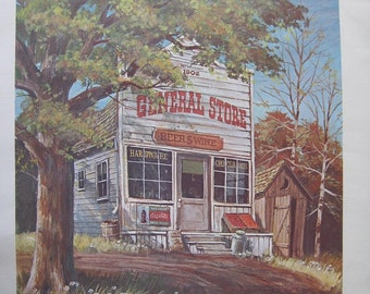 Vintage Print of an Old Barn and the Old General Store. FREE U.S. SHIPPING