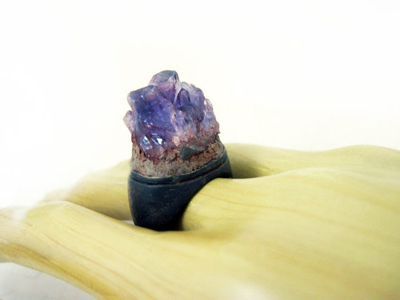 Kiss the Ground. Raw Amethyst crystal on chunky oxidized ring.